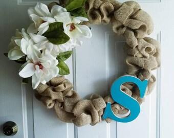 Customizable shabby burlap wreath