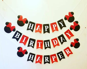 Red and black Minnie mouse happy birthday banner. Minnie mouse birthday banner.Minnie birthday party decor.Minnie's boutique birthday banner
