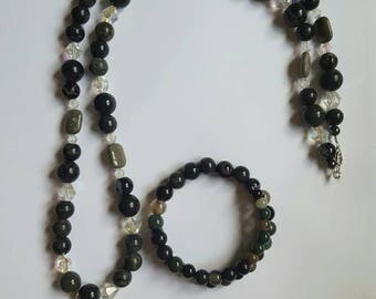 Agate Beaded Necklace with Bracelet