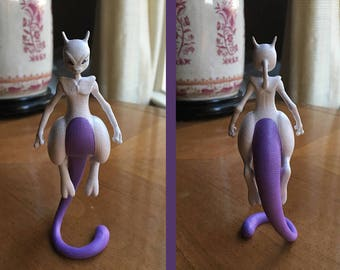 Mewtwo Pokemon Figurine, 3D Printed, Hand Painted