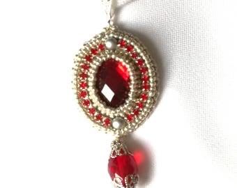 Little Silver Rubin filligree pendant - Handmade beaded Pendant, Memet Jewelry