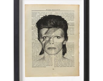 David Bowie art print illustration beautifully upcycled old book (1915) page art print