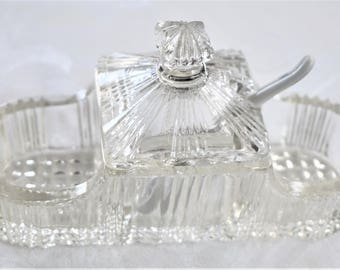 French vintage glass mustard, salt and pepper table container