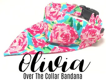 LivyDog ™ Over the Collar Bandana, Floral Dog Bandana, Dog Bandana, Over the Collar, Pet Bandana, Pet Supplies, Lilly Print, The Olivia