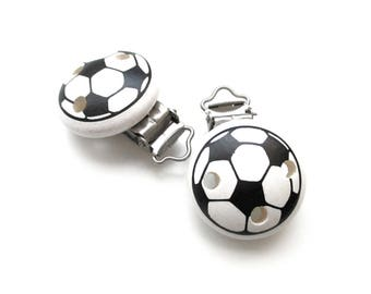 Pacifier clip in wood pattern football ball