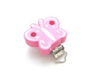 Wooden Butterfly Glitter pacifier clip - pink