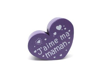 Wooden heart bead I love my mom purple