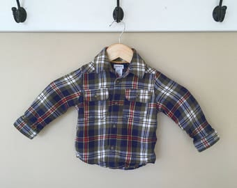24 Month Elbow Patch Long Sleeve Flannel Button Down