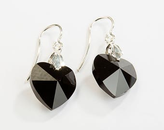 Silver earrings 925 heart swarovski elements jet.