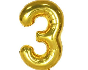 "40"" Gold Number ""Three 3"" Balloon, Birthday Party and etc ... 1,2,3,4,5,6,7,8,9,0"