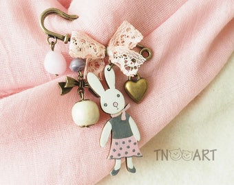 Bunny bow brooch pin / handmade jewelry bronze color charm brooch rabbit button heart charms woden beads wood rose pink gray white color