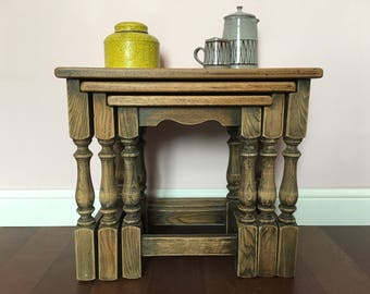 Antique Nest of Three Rustic Hygge Oak Tables