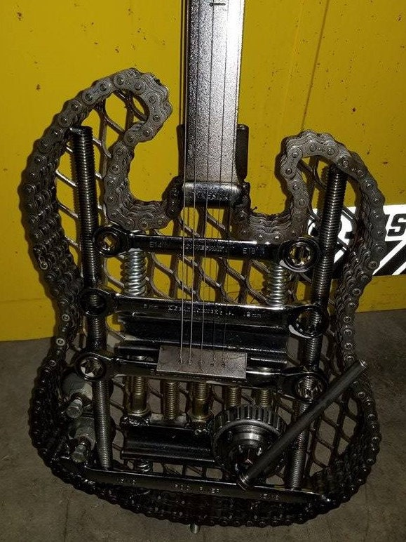 Welded Scrap Metal Electric Guitar Body.
