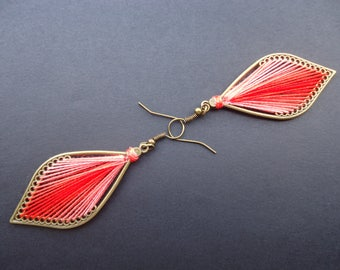 Red shaded thread earrings