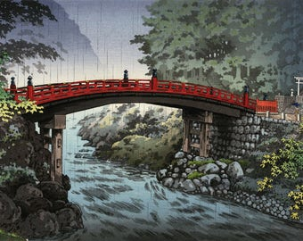 "Japanese Art Print ""Nikko Sacred Bridge"" by Tsuchiya Koitsu, woodblock print reproduction, asian art, cultural art, landscape, rain"