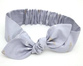 Arrows gold baby headband, grey gold arrows baby, knot baby headband, baby girl headband, metallic gold, grey arrows headband