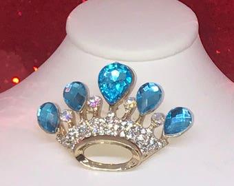 Aqua Blue Crown Pin