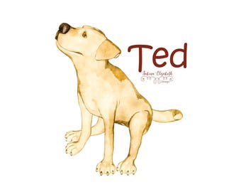Dog Ted 2, beige, Watercolor Clipart, Baby, Child, Fun, Craft