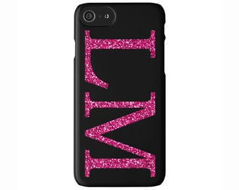 Personalised Glitter Pink initials Matte Black Phone Case Cover for Apple iPhone 5 6 6s 7 8 Plus & Samsung Galaxy Customized Monogram