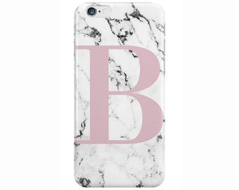 Personalised Large Dusky Pink initials White Marble Phone Case Cover for Apple iPhone 5 6 6s 7 8 Plus & Samsung Galaxy Customized Monogram