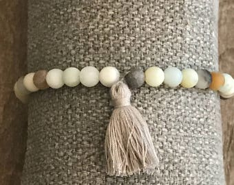 Matte turquoise amazonite bracelet with grey tassel