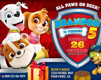 Paw Patrol Birthday Invitation, Paw Patrol Birthday Party, Paw Patrol Invitation, Paw Patrol Invite Printable File, Paw Patrol Party Invite