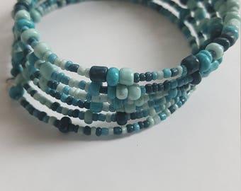 Turquoise beaded memory wire bracelet