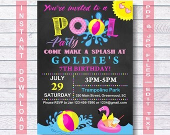 Pool Party Invitation, Pool Invitation, Pool Birthday Invitation, Pool Birthday, swimming party, summer party, Girl, sun, Flamingo, Pool