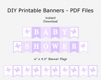 Baby Shower Banner with Butterflies - Pale Purple, Pastel Purple & White - Butterfly Bunting - PRINTABLE - INSTANT DOWNLOAD
