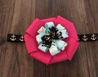 Baby headband, ribbon bow headband,baby head band, baby headband bow, Pink and Black Headband