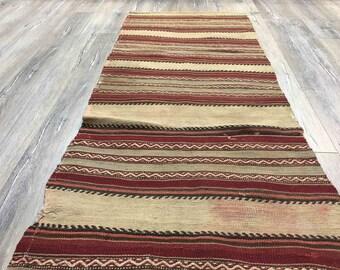 Striped Kilim Runner Rug 2x7 Navajo Burgundy Vintage Living Room Southwestern
