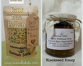 Blackseed Honey / Organic Honey / Raw Bee Pollen / bee pollen / Blackseed / Organic wildflower honey / Nigella Sativa / Kalongi honey / flu