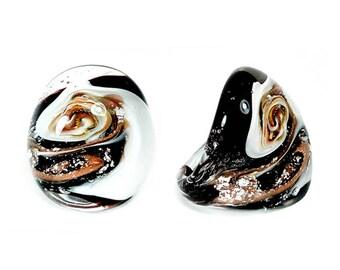 Murano Glass Ring 'White Snow' Dome Shape, Murano Glass Ring, Murano Glass Jewelry, Murano Glass Jewellery, Bague Verre, Bague Murano