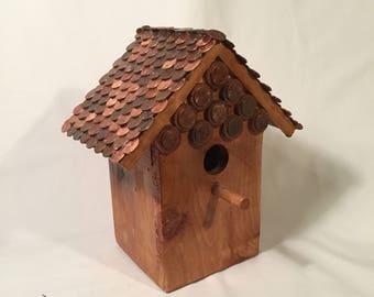 Custom bird houses with penny roof