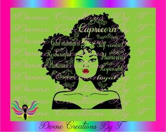 Capricorn Diva (Outline)   SVG, EPS, DXF