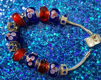Red & Blue Bloom Bracelet