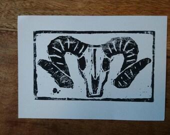 Goat Skull Woodcut Print