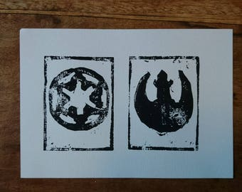 Choose Your Side Woodcut Print
