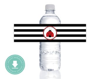 INSTANT DOWNLOAD : Red LadyBug Water Bottle Label ( 4th of July, Simple Summer Party, Ladybugs, Red, Black, White )