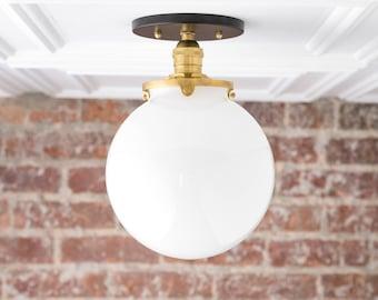White Ball Light - Flush Mount Ceiling Light - Glass Pendant Globe - Semi Flush Light - Mid Century Globe