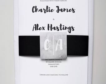 Brush Lettering Classic Wedding Invitation Set