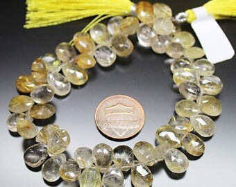"Natural Golden Rutile Quartz Faceted Pear Drop Gemstone Craft Loose Beads Strand 8"" 10mm 11mm"