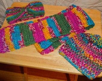 Hat, Scarf, Headband Crochet Set for Tweens & Teens