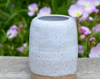 White Speckled Bud Vase
