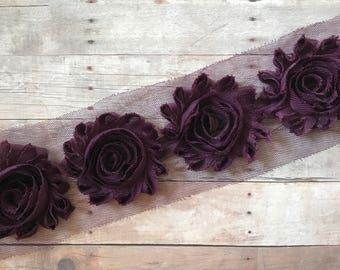 "Maroon Shabby flowers, 2.5"" shabby rose trim, Chiffon flower trim, Chiffon Rose, Wholesale flowers, Shabby Chic, by the yard, baby headband"