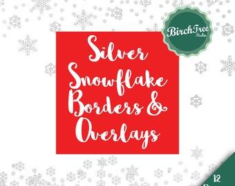 Snowflake Clipart Glitter Borders - Silver Glitter Confetti Clipart - Scrapbooking - Christmas Decoration -  Border PNG - Instant Download