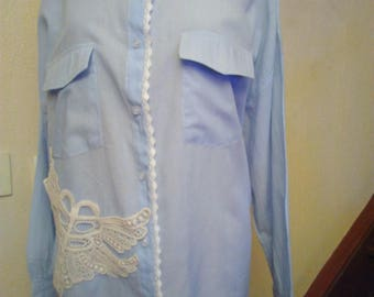 Blue lace and cotton long sleeve shirt