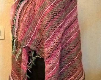 Mottled fuchsia color wool shawl