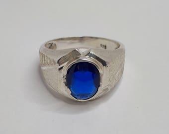 Imitation Sapphire Ring, Men Silver Ring, Heavy Silver, Men Silver Ring, Birthday Gift, Sterling Silver, Ring Men, Mens Silver Ring