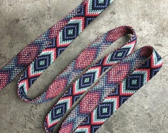Jeans Belt band / Red, Cream and blue woven belt band / frayed and plaited ends / bands of HK / belt with plaited ends
